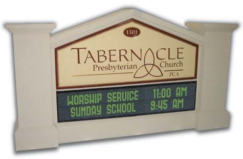 Tabernacle Church Monument with LED Message Board